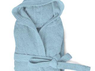 accappatoio spugna con cappuccio e tasche cloe 350 gr azzurro
