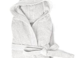 accappatoio spugna con cappuccio e tasche cloe 350 gr bianco