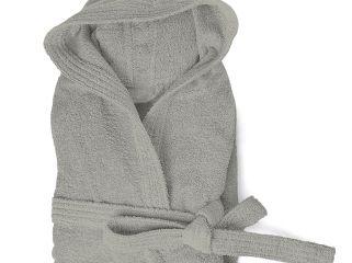 accappatoio spugna con cappuccio e tasche cloe 350 gr grigio