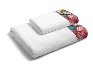 set asciugamani bagno 1+1 con balza applicata stampata in digitale 350gr ki osa KO633