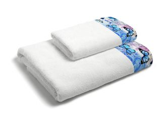 set asciugamani bagno 1+1 con balza applicata stampata in digitale 350gr ki osa KO634