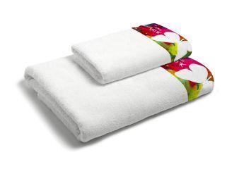 set asciugamani bagno 1+1 con balza applicata stampata in digitale 350gr ki osa KO638