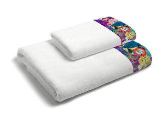 set asciugamani bagno 1+1 con balza applicata stampata in digitale 350gr ki osa KOLM01