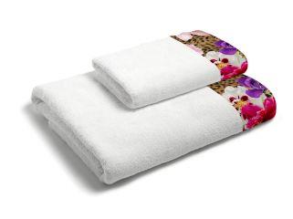 set asciugamani bagno 1+1 con balza applicata stampata in digitale 350gr MB03