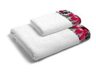 set asciugamani bagno 1+1 con balza applicata stampata in digitale 350gr MB09
