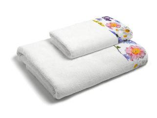 set asciugamani bagno 1+1 con balza applicata stampata in digitale 350gr MB14