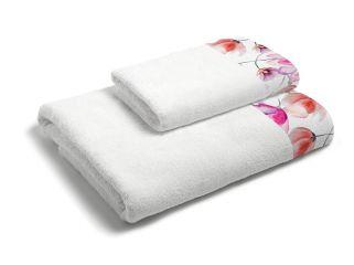 set asciugamani bagno 1+1 con balza applicata stampata in digitale 350gr MB17