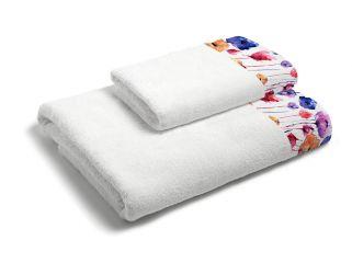 set asciugamani bagno 1+1 con balza applicata stampata in digitale 350gr MB18