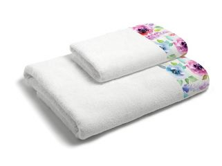 set asciugamani bagno 1+1 con balza applicata stampata in digitale 350gr MB21