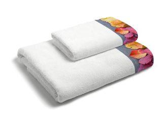 set asciugamani bagno 1+1 con balza applicata stampata in digitale 350gr m.b foglia